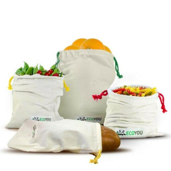 Obst-, Gemüse- und Brotbeutel 4er-Set