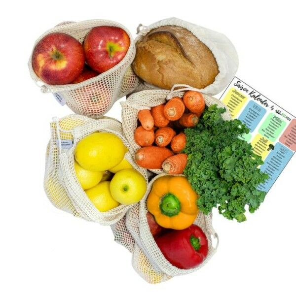 Obst-, Gemüsenetze und Brotbeutel 5er-Set