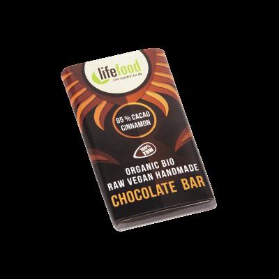 Lifefood Schokolade - 95 % Kakao mit Zimt - Bio und Rohkostqualität 15g