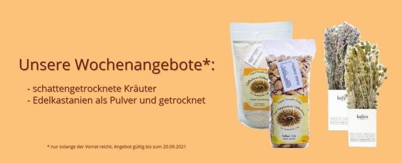 Wochenangebot Esskastanien Pulver & getrocknet & schattengetrocknete Kräuter